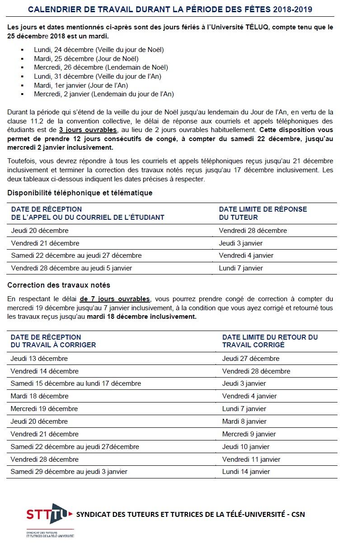Calendrier De Travail.Calendrier De Travail Pour La Periode Des Fetes 2018 2019